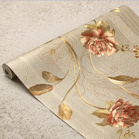 New luxury 3D rose flower striped wallpaper 3D luxury gold foil wallpaper roll Striped wall paper