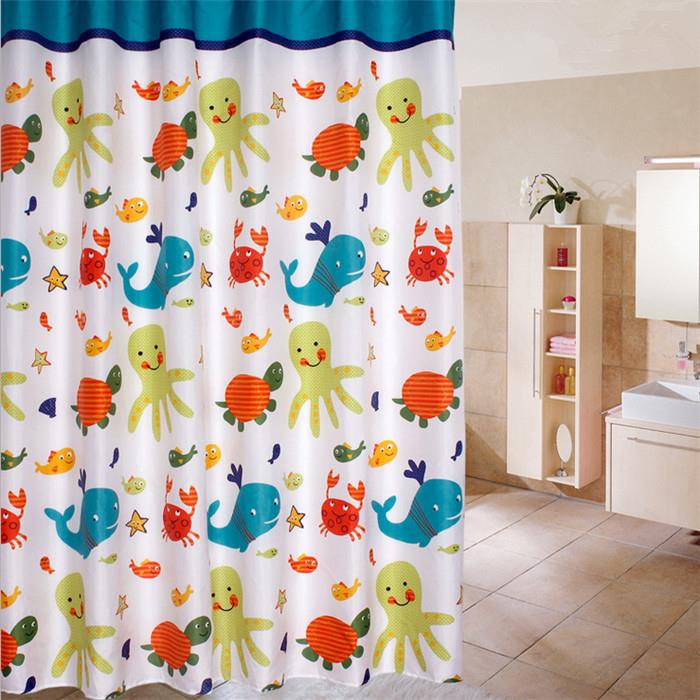 1 PC 180*180cm Cartoon Sea World Shower Curtain Polyester Thicker Bath Curtain Waterproof Bathroom Curtain 71