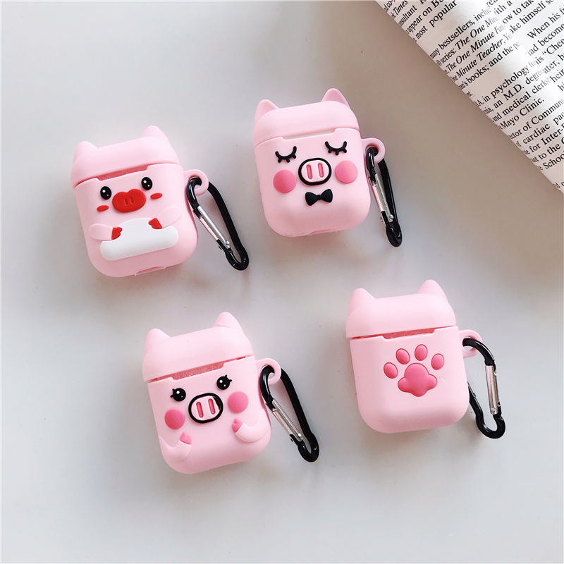 Cartoon 3D Cute Pig Cat Wireless Bluetooth Earphone silicone Case For Apple AirPods2 1 Silicone Charging