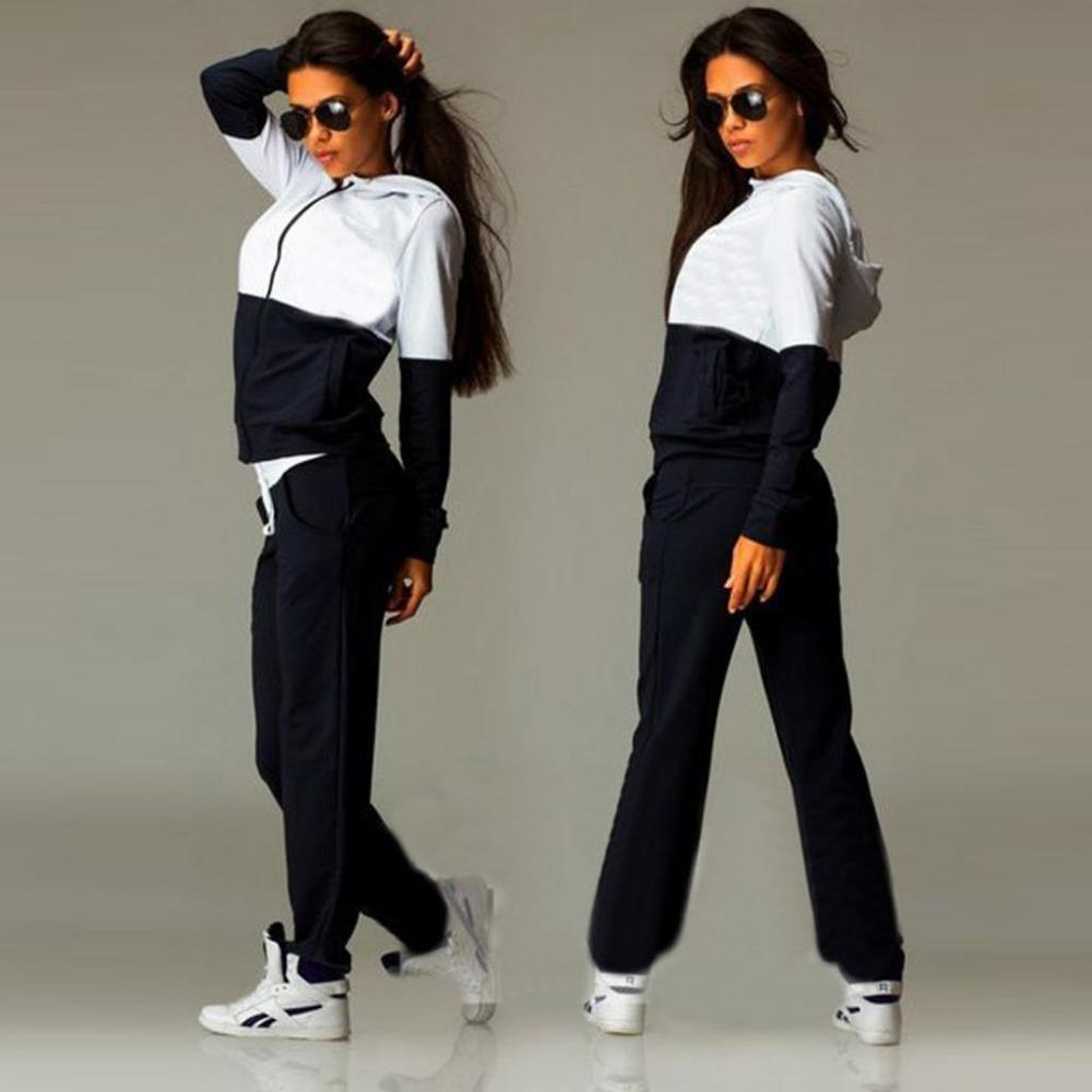 Fashion 2pcs Set Women Sweatshirt Suit Patchwork Color Female Sporting Suit Hooded Zip Up Hoody+Long Pants Tracksuits Hoodies