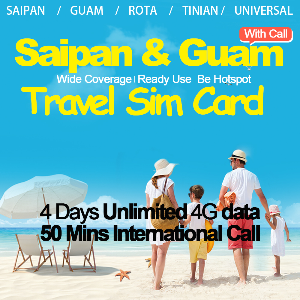 Mewfi Saipan Guam Rota Tinian carte Sim de voyage prépayée 4 jours illimité 4G Date + 50 minutes appel International IT & E téléphone Mobile Sim