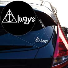 Geekery Deathly Hallows Always Inspired Harry Potter Decal Sticker for Car Window, Laptop and More. # 467 (2 x 4.3, White)