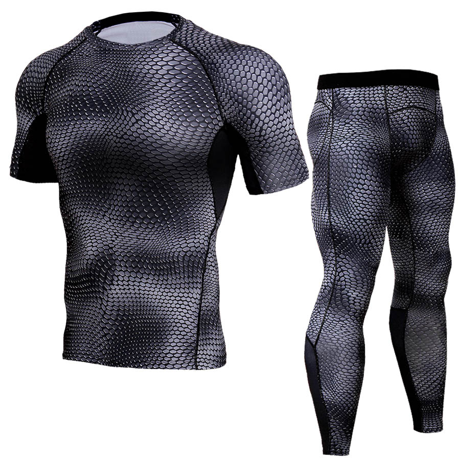 MMA Dry Fit Compression Tracksuit Men Fitness Tights Short Sleeve Shirts Set Gyms Crossfit T Shirt Leggings 2pcs/Sets Underwear