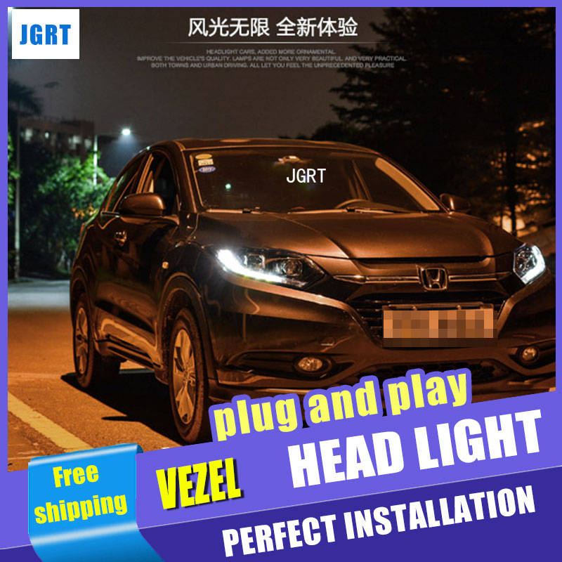 Car Styling For Honda HRV headlight assembly For VEZEL HRV LED head lamp Angel eye led front light H7 with hid kit 2 pcs. new arrival canbus p6 car led head lamp conversion kit bulb 4500lm 2 9000lm led headlight super bright 45w 2 90w car styling