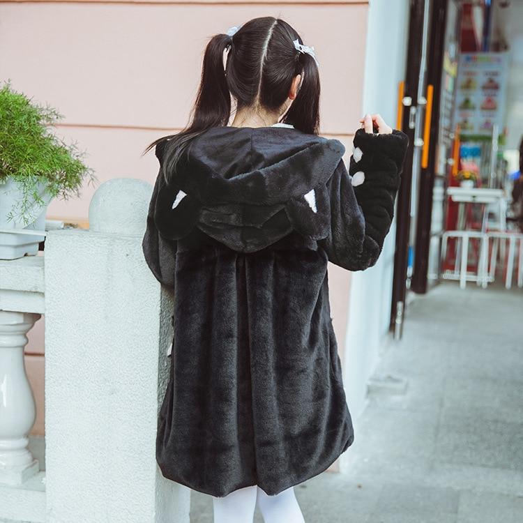 Japonais Imitation Noir Manteau Doux Hiver Plus Meng Nouvelle Mignon Et Automne 2017 Épais D'hiver Fourrure Velours Sœur Chat aq6YxTw