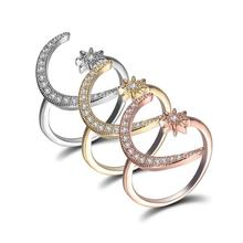 Fashion  Moon and Star Rings Women Wedding Jewelry Open Adjustable Ring For
