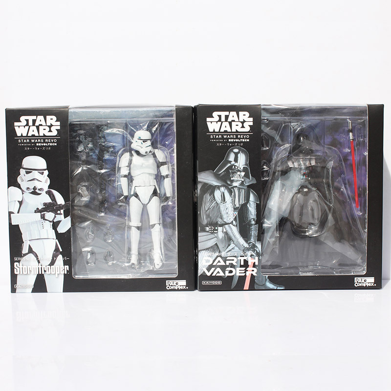Star Wars Revoltech Darth Vader 001 Stormtrooper 002 PVC Action Figures Collectible Model Kids Toys 2 Styles saintgi star wars darth maul play arts original darth vader espada bb8 figures toys revoltech pvc collectible model 26cm