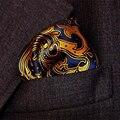 25 cm Paisley lenços de seda tecido azul de bolso de ouro quadrado negócios dos homens casuais bolsos de casamento lenço quadrado lenços