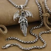 LINSION 925 Sterling Silver Death Wing Sword Mens Biker Rock Punk Pendant 9E024