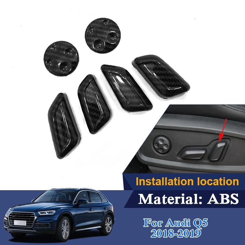 Car Styling ABS 6pcs set Car Seat adjustment decoration cover Sequins For Audi Q5 Q5L 2018