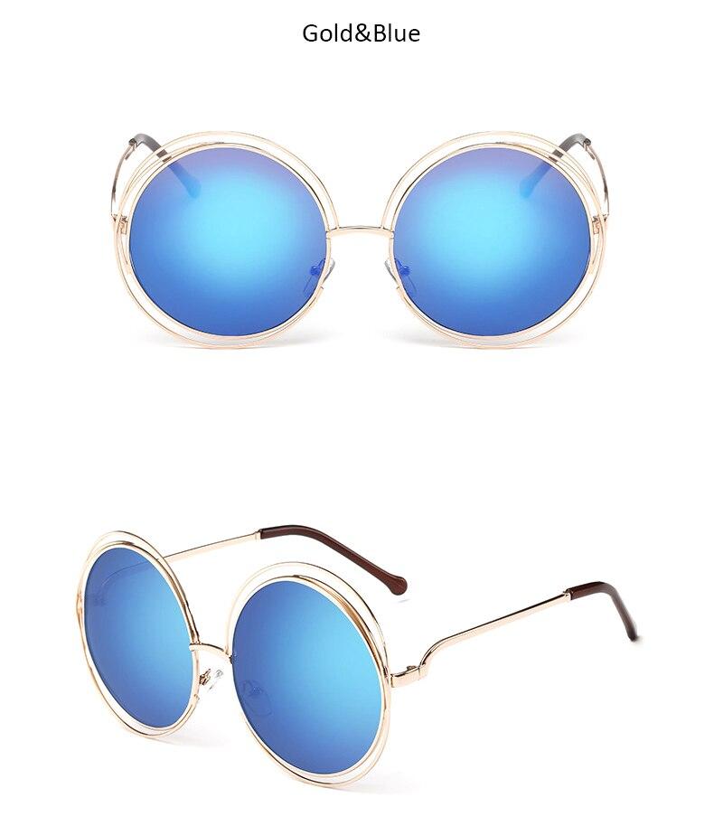 TSHING New big circle round frame sunglasses for women bicyclic female fashion personality Oculos Feminino oversized sun Glasses