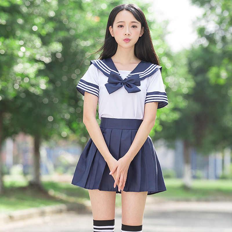 Sailor anzug schuluniform sets JK schule uniformen für mädchen weißes hemd und dunkelblau rock anzüge student Cosplay