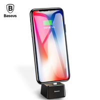 Baseus Desktop Charger For IPhone 8 7 6 Portable Phone Holder Stand Cradle With 1M Lighting