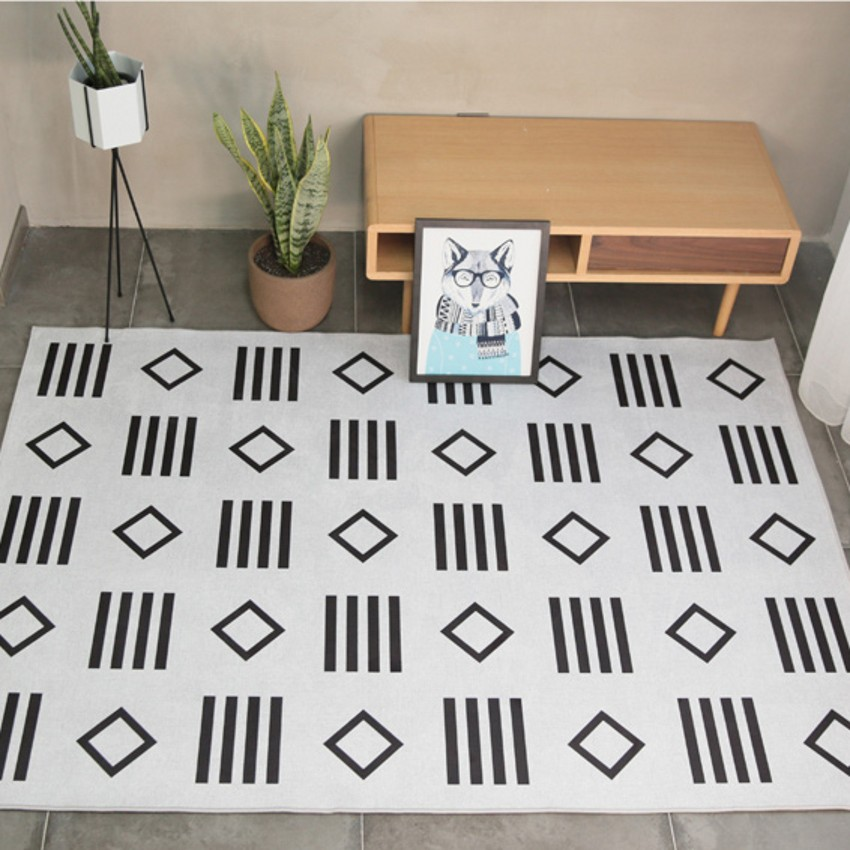 Nordic style geometric pattern carpet living room carpet, rectangle ground mat , Pastoral home decoration floor mat