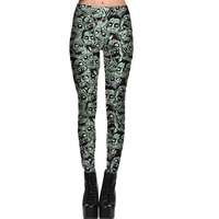 Europe New Women Slim Sexy Leggings Trousers Yoga Fitness Elastic Tights Girls Green Skull Personality Nine