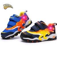 Dinoskulls Toddler Boy Led Shoes Toddler Boy Sneakers Kids Light Up Led Dinosaur Shoes Running Sports Shoes for Children 27 34