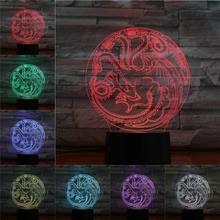 «Игры престолов» Железный Дракон 3D лампа Иллюзия ночник светодиодный лампа USB RGB многоцветный дом Lampara рождественские подарки для детей