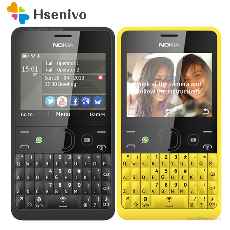 210 Original Nokia Asha 210 Unlocked GSM 2.4``Dual SIM Cards 2MP QWERTY Keyboard English Only Phone Refurbished