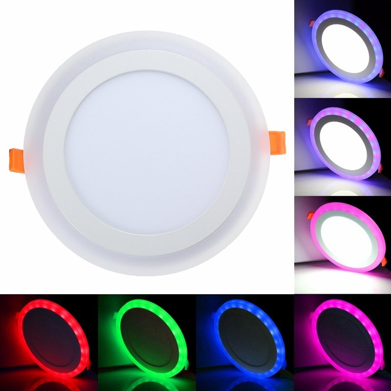 3 Model Round RGB+ white double color Led Panel Light 6w/9w/18w/24W AC85-265V Recessed LED Ceiiling Lamp led Ceiling lamp e27 led rgb magic lamp lamp 6w ac85 265v 220v rgb led light spotlight ir afstandsbediening controle and white white