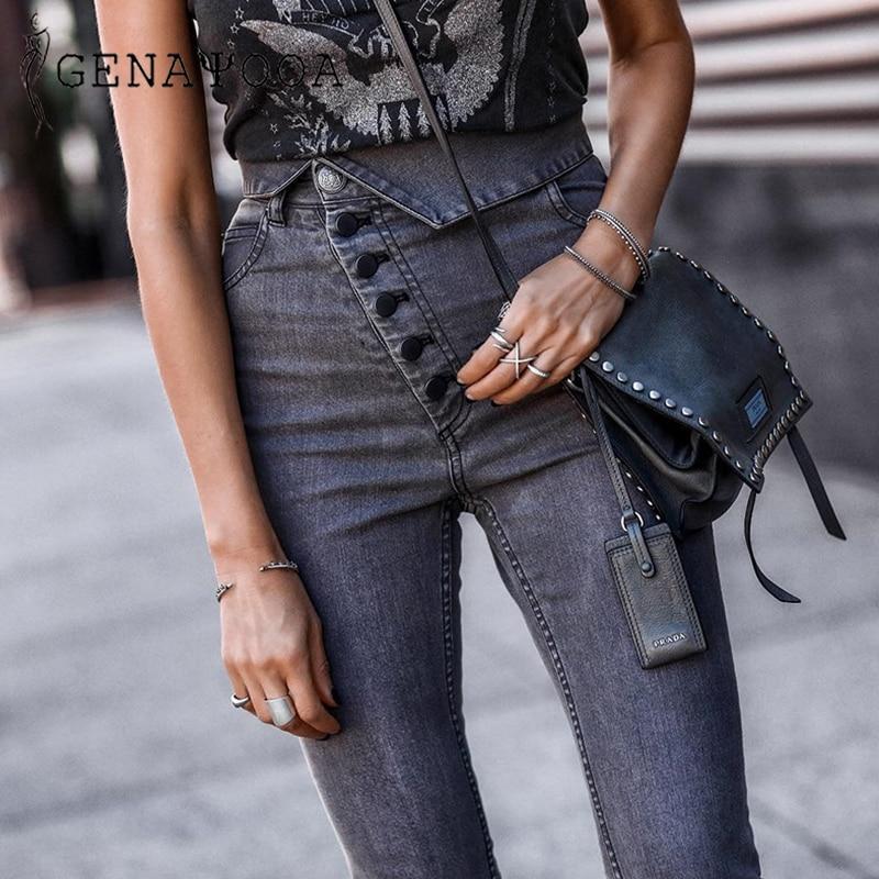 Genayooa Button Jeans Female Denim Pencil Pants Women Black High Waist Jeans Woman Skinny Denim High Quality Pencil Jeans Women