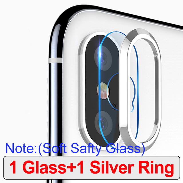 For iPhone X XS MAX 8 7 Plus Tempered Glass+Metal Rear Lens Protective Ring Camera Lens Screen Protector For iPhone XR iPhone XS