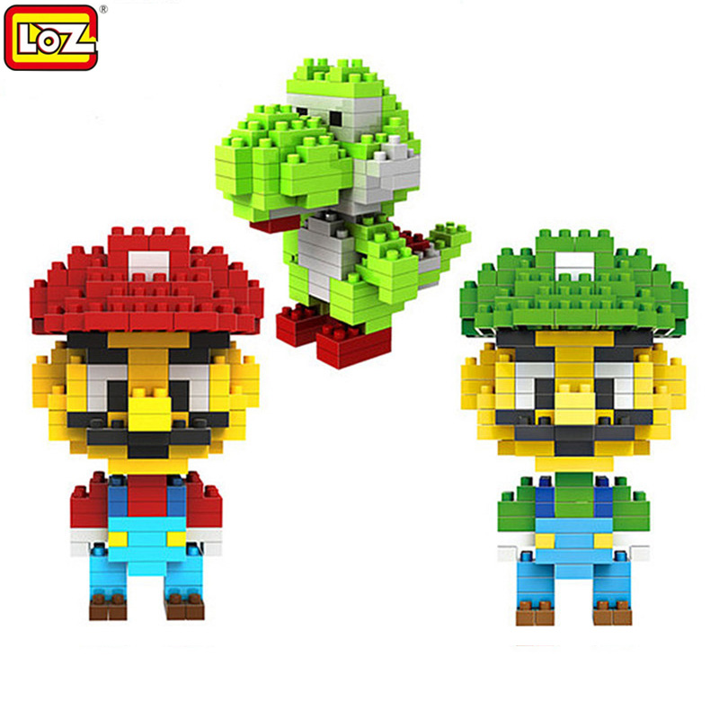 LOZ Super Mario Building Blocks Mario & Luigi & Yoshi Diamond Microblock DIY Building Toys Cute Cartoon Action Figures Kids Gift 2015 new gift smae as loz building blocks small animal minion mario transformation minifigures cartoon characters 3d bricks toys