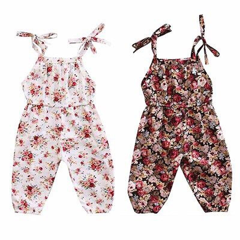 Infant Kids Girls Romper Floral Sleeveless Jumpsuit Outfits Sunsuit Cotton Clothes