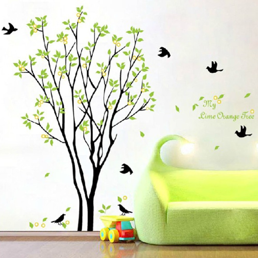 Bedroom wall art trees - Be Bedroom Wall Art Trees Aliexpress Com Buy Green Beautiful Tree And Bird Room Decor