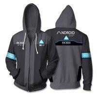 3D Printed Hoodie Game Detroit: Become Human RK800 Connor Cosplay Zip Up Hooded Unisex Jacket Sweatshirt Hoody Streatwear Coat