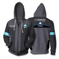 3d impresso hoodie jogo detroit: torne-se humano rk800 connor cosplay zip up com capuz unisex jaqueta moletom com capuz streatwear casaco