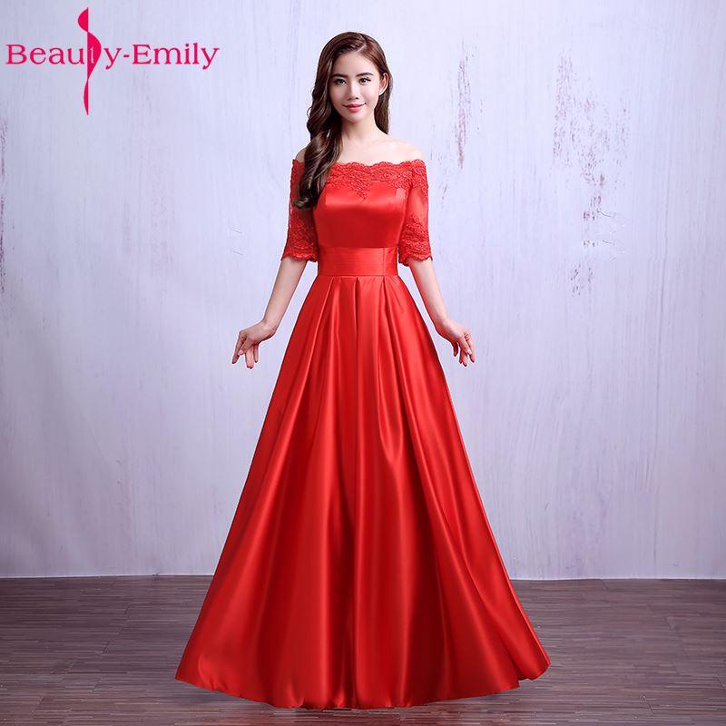 Beauté Emily élégant vin rouge longues robes De soirée 2019 dentelle poche Satin sur mesure femmes fête robes De bal Robe De soirée - 5