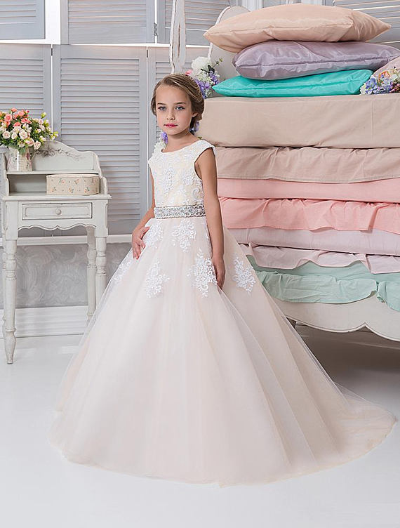 High Quality Custom Flower Girls Dress 2017 Champagne Tulle Lace Ball Gown First Holly Communion Dress Any Size creative personality for contemporary and contracted wooden desk lamp fold wood rocker fashionable living room