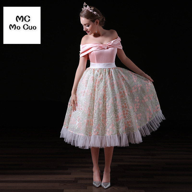 Free Shipping Homecoming Dresses Off Shoulder Bow cocktail dress short Girl Dress for women new arrival Cocktail Dresses