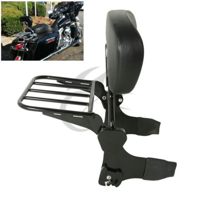 Motorcycle Backrest Sissy Bar & Luggage Rack For Harley Road King 97-08 FLHT FLHX Electra Street Glide  Chrome BlackAccessories