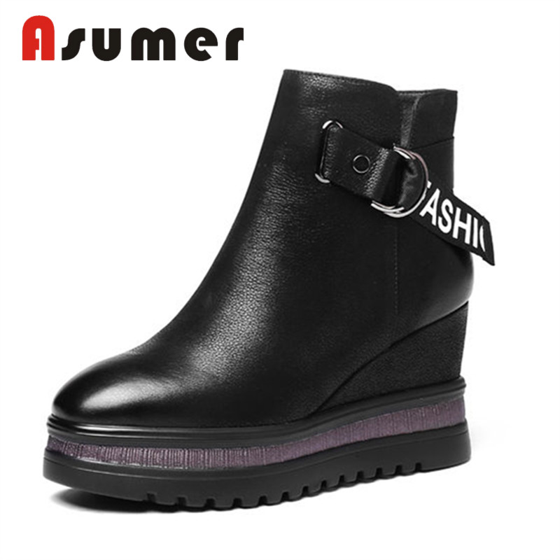 ASUMER NEW 2018 buckle adult ankle boots for women simple fashion winter boots round toe wedges heels genuine leather bootsASUMER NEW 2018 buckle adult ankle boots for women simple fashion winter boots round toe wedges heels genuine leather boots