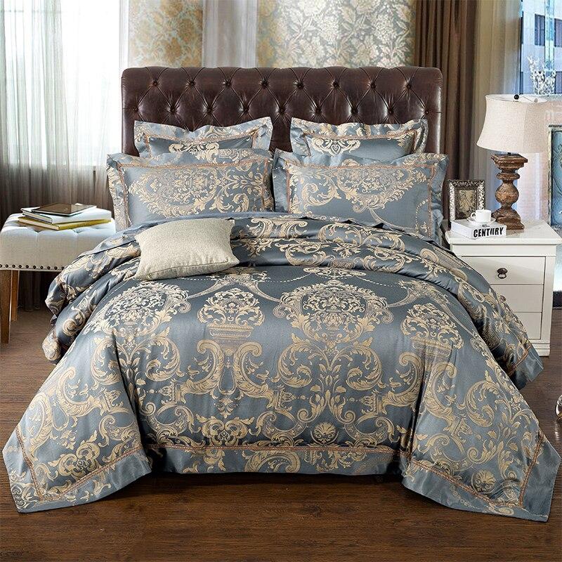 Luxury Jacquard Bedding Set 4 6Pieces Silk Cotton Hollow Duvet Cover Set Pillowcase Bedsheet bed linen