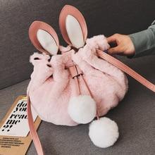 61ba3898c6e6 Korean Sweet Bucket bag 2018 New Quality Soft Plush Women s Designer Handbag  Animal Ear Shoulder bag
