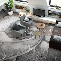 Free shipping flooring custom living room self adhesive photo wallpaper 3d floor spiral conch stairs European floor background