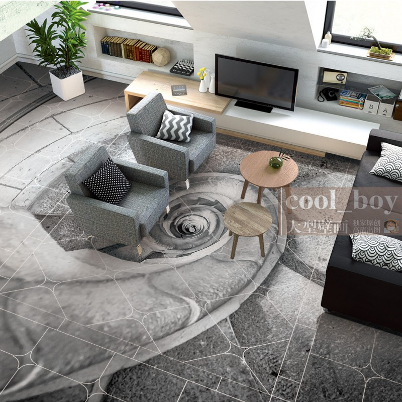 Free shipping flooring custom living room self-adhesive photo wallpaper 3d floor spiral conch stairs European floor background