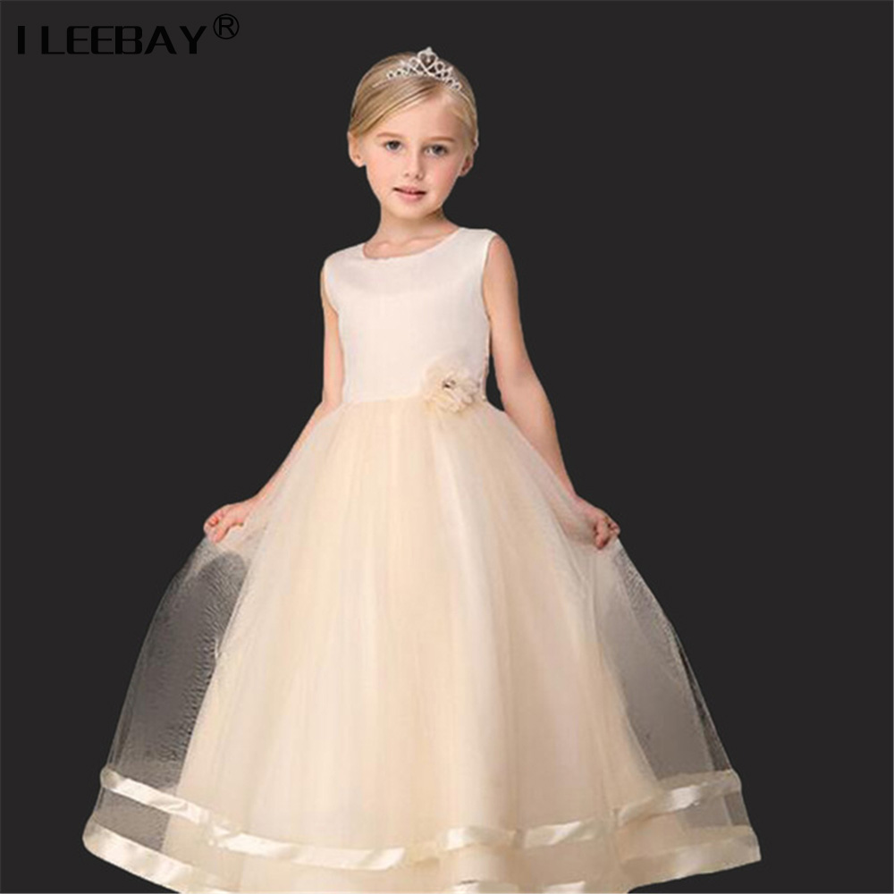 High Quality Girl Princess Lace Dress For Wedding Party Children Bridesmaid Bow Sleeveless Tulle Tutu Dress Junior Prom Costume