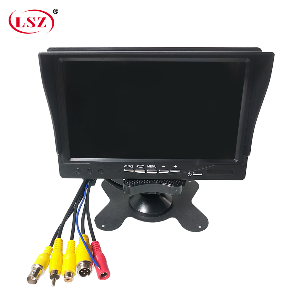 LSZ 7 inch car monitor with sun visor 12v-24v wide voltage design Infrared remote control 800 (rgb) * 480 (pixels) pal/ntsc/auto image