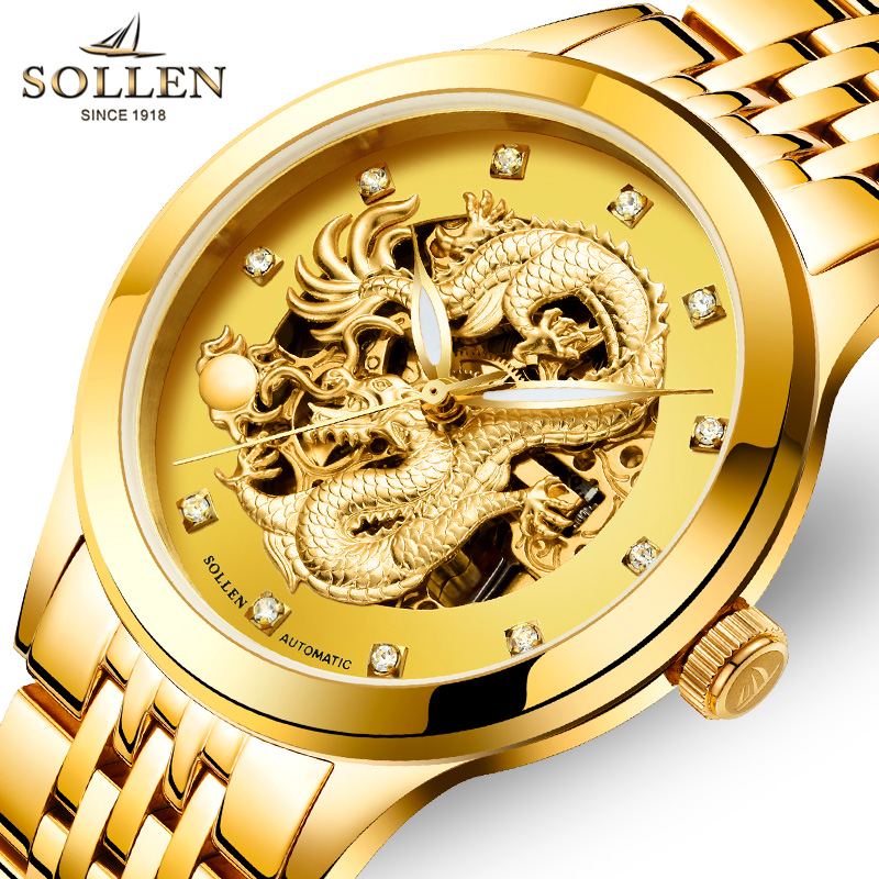 2017 Top Brand SOLLEN Full Steel Mechanical Watches Luxury Men Sport Watch Gold Clock Mens Calendar Automatic Wristwatch Hodinky cadisen top new mens watches top brand luxury complete calendar 3atm sport watches for men clock stainless steel horloges mannen
