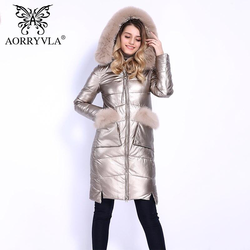 AORRYVLA 2018 Лидер продаж зима Для женщин пальто вниз натуральным лисьим мехом с капюшоном воротник Длинные кожаные пальто Женская куртка-парка ...