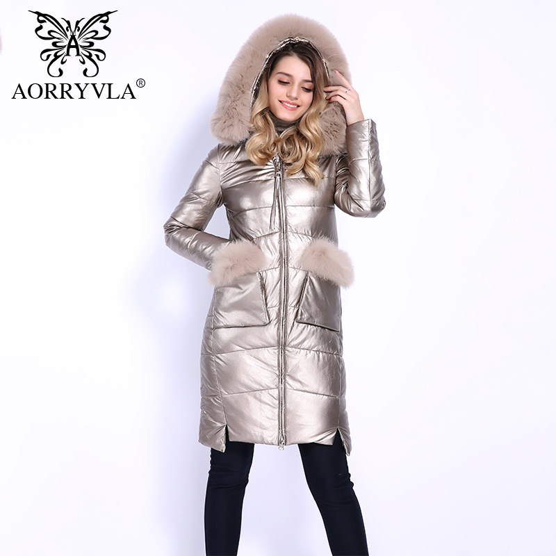 AORRYVLA 2018 Hot Sale Winter Women's Coats Down Real Fox Fur Hooded Collar Long Leather Coat Women Parka Thick Winter Outerwear