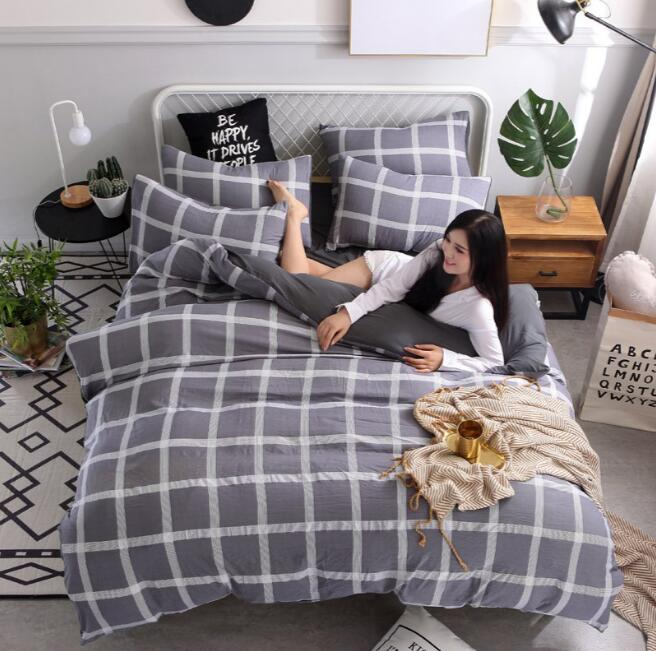 Water washing cotton bedding set plaid duvet cover with pillowcases 4pcsWater washing cotton bedding set plaid duvet cover with pillowcases 4pcs