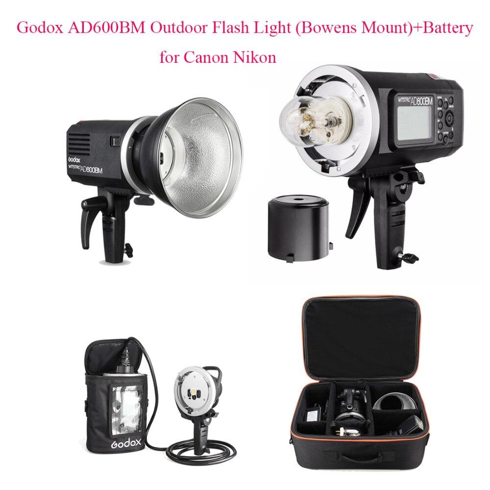 Godox AD600BM Versão Manual HSS 1/8000 s 600 W GN87 Luz do Flash Ao Ar Livre (Bowens Mount) + Bateria de lítio 8700 mAh para Canon Nikon