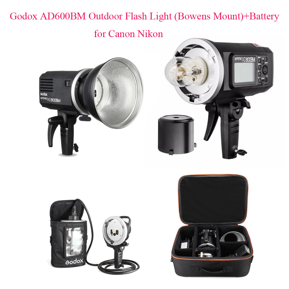 Godox AD600BM versión Manual HSS 1/8000 s 600 W GN87 al aire libre Luz de Flash (Bowens montaje) + batería de litio de 8700 mAh para Canon Nikon