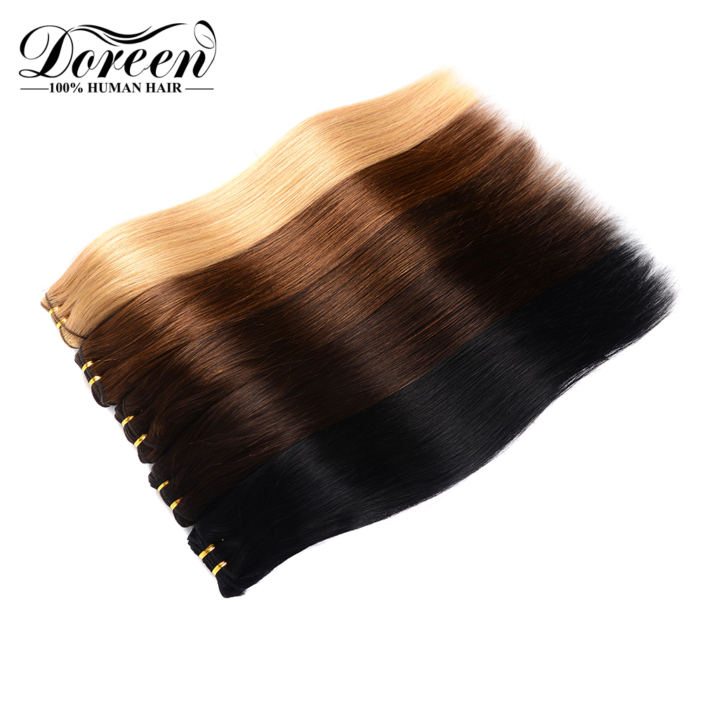 Doreen Full Head European Machine Made Remy Hair 7 Pcs/set 120G Straight Clip In Hair Extensions Natural Human Hair 14