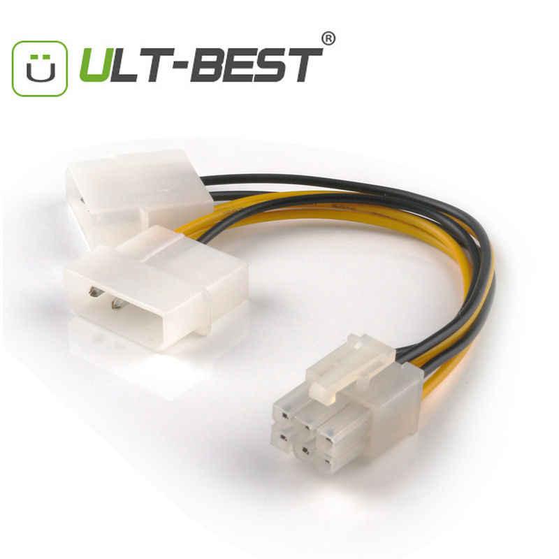 ULT-Best SATA كابل الطاقة PCI-E 6Pin أنثى إلى موليكس 4pin x2 الخائن الطاقة PCI اكسبرس تمديد الكابلات 15 سنتيمتر