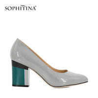 SOPHITINA Handmade Retro Lady Pumps Patent Leather Sexy Pointed Toe Slip-on Pump Comfortable Elegant Lady Dating   Shoes   Women W11